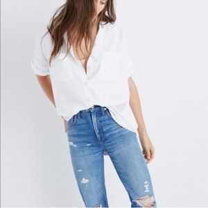 Madewell White Cotton Courier Shirt Boxy Button Up